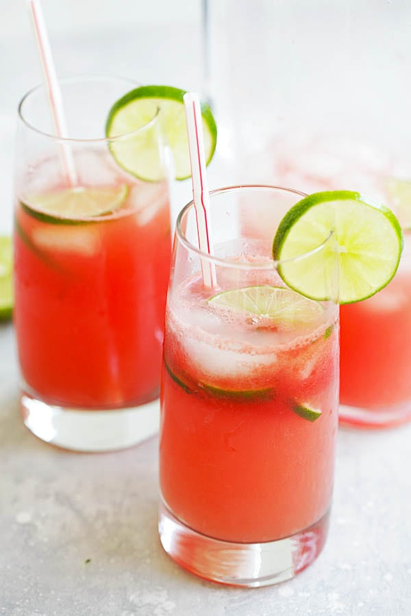Easy and quick watermelon limeade drink recipe.