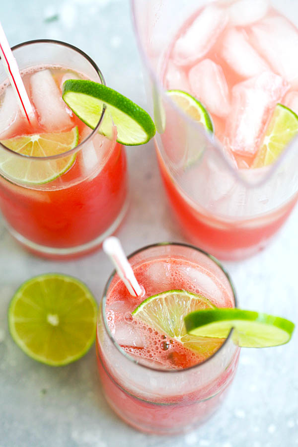Easy iced watermelon limeade served in glasses.