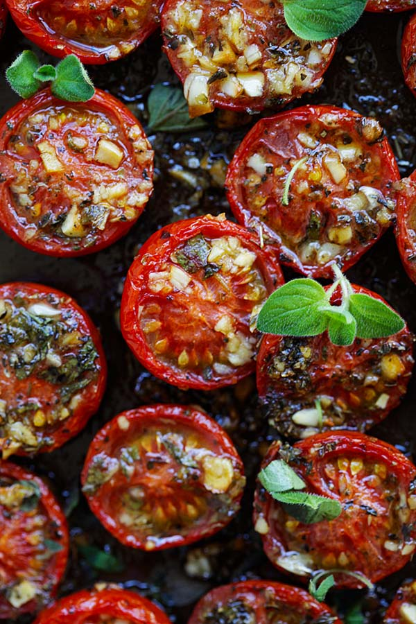 Roasted tomatoes with garlic, olive oil, Italian seasoning and oregano.