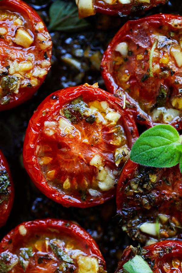 Oven roasted tomatoes are perfectly juicy and bursting with flavors.