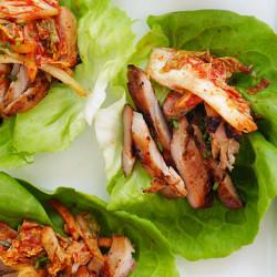Korean BBQ Chicken Kimchi Lettuce Wraps