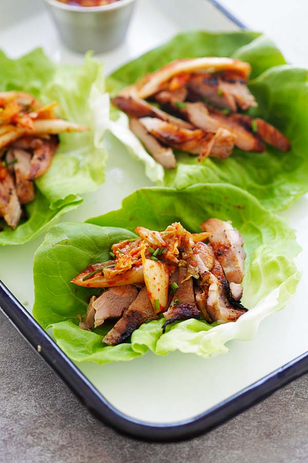 Korean BBQ Chicken Kimchi Lettuce Wraps - refreshing lettuce wraps with spicy Korean grilled chicken and kimchi. So delicious you'll want more | rasamalaysia.com