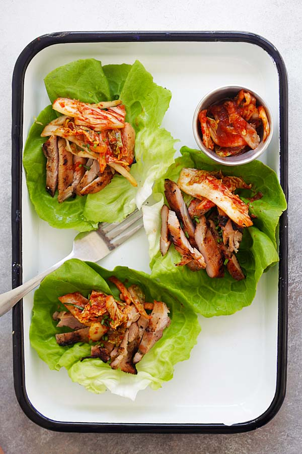 Korean Bbq Chicken Kimchi Lettuce Wraps Easy Delicious Recipes