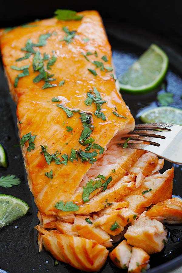 Orange glazed Salmon marinade with sriracha lime sauce.