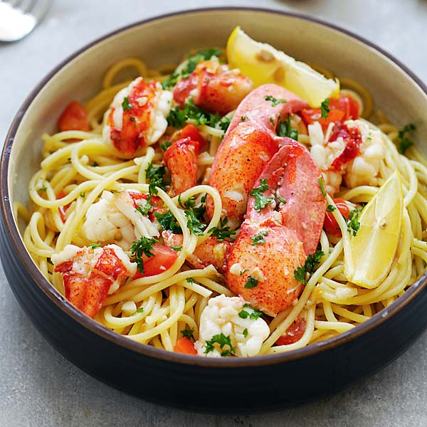 Lobster Pasta - amazing lobster pasta recipe you can make at home! Garlicky, buttery and loaded with lobster, it's better and cheaper than restaurants | rasamalaysia.com