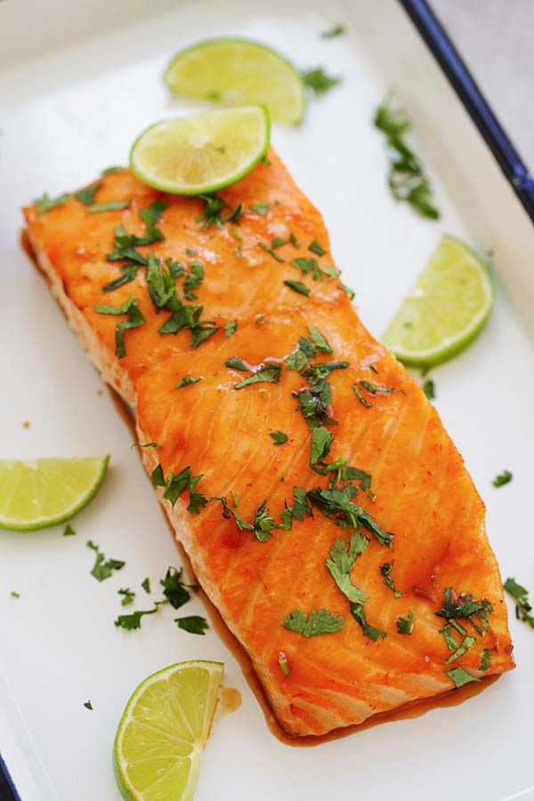 Cilantro lime salmon fillet with orange glaze.