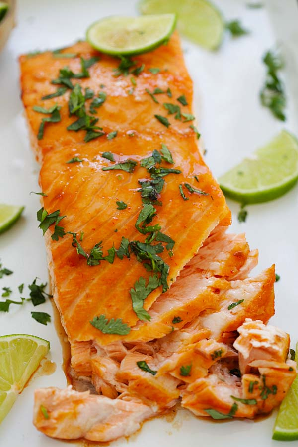Flaky cilantro lime salmon, topped with chopped parsley.