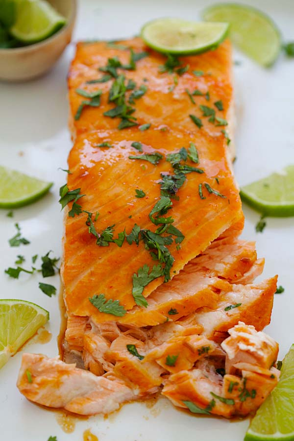 Cilantro lime salmon oven-baked, ready to serve.