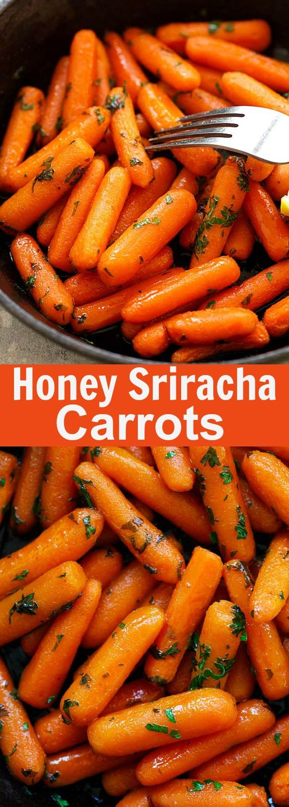 Honey Sriracha Roasted Carrots - Roasted baby carrots in a sweet and spicy honey sriracha glaze. So easy and delicious, takes only 10 mins active time | rasamalaysia.com