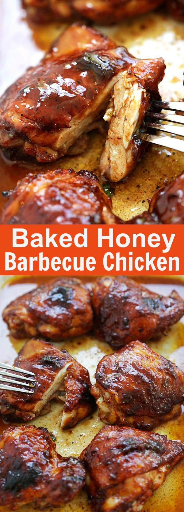 Baked Honey Barbecue Chicken - moist and juicy chicken thighs marinated with smoky honey barbecue sauce and baked to perfection. So good | rasamalaysia.com