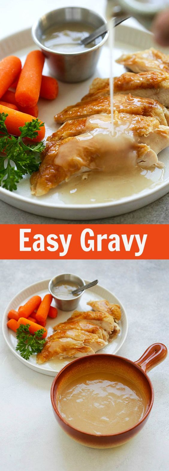 Easy Gravy - quick homemade gravy with only 4 ingredients. This gravy is great for turkey, chicken, pork, steak and potaotes. So good | rasamalaysia.com