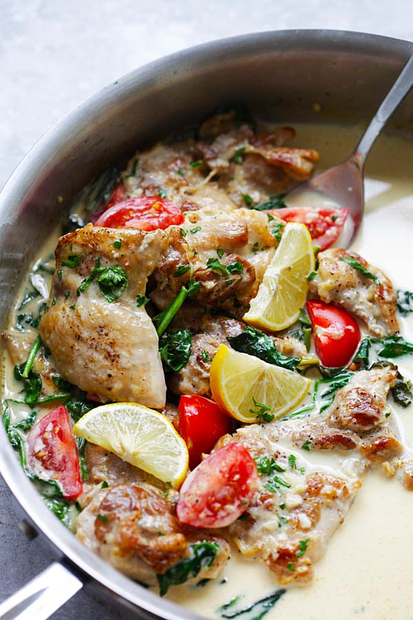 Lemon Butter Chicken - juicy and moist pan-fried chicken in a super creamy, lemony and cheesy white sauce, with spinach and tomatoes | rasamalaysia.com