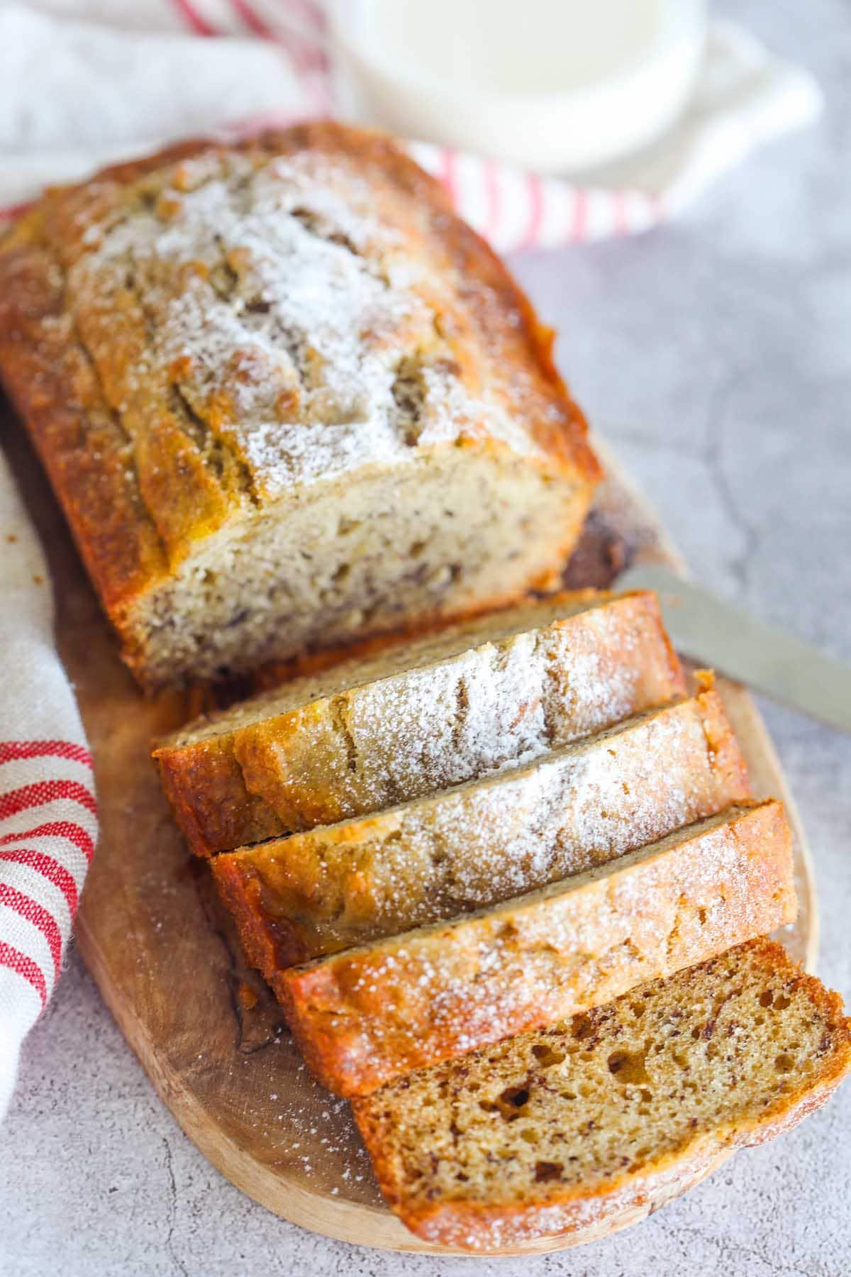 Easy moist banana bread recipe using rum.