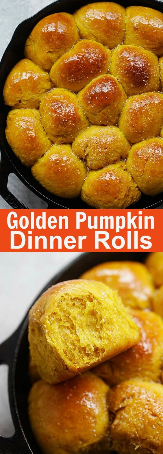 Pumpkin Dinner Rolls - easiest and best homemade pumpkin dinner rolls on skillet. So soft and pillowy you just can't stop eating | rasamalaysia.com
