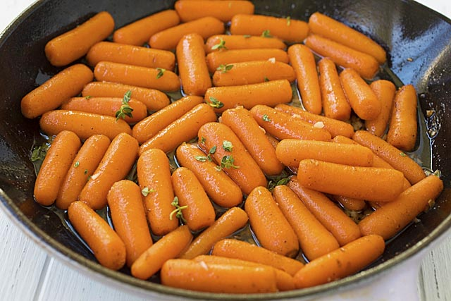 Brown butter maple roasted carrots