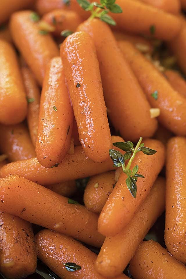 Close up of homemade maple roasted carrots with brown butter.
