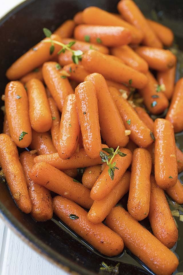 Maple roasted carrots with brown butter.