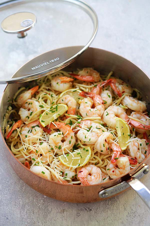 Garlic Chive Butter Shrimp Pasta Mauviel Review Easy