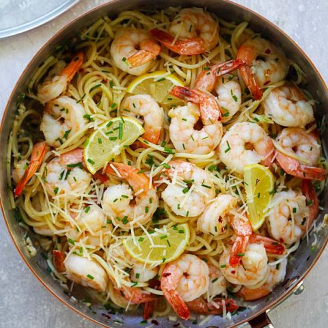 Garlic Chive Butter Shrimp Pasta