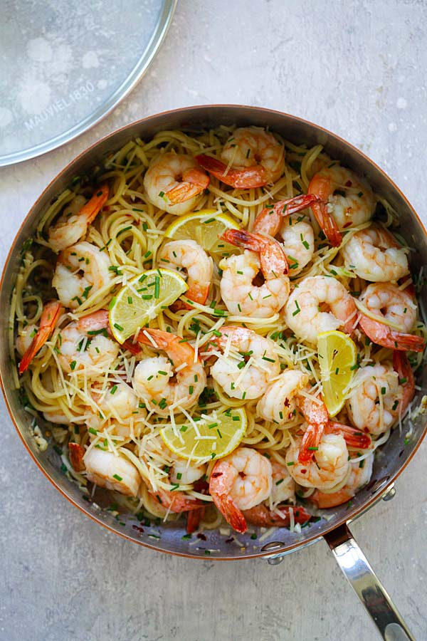 Garlic Chive Butter Shrimp Pasta - easy delicious pasta loaded with garlic chive butter shrimp. Weeknight dinner is a breeze with this recipe | rasamalaysia.com