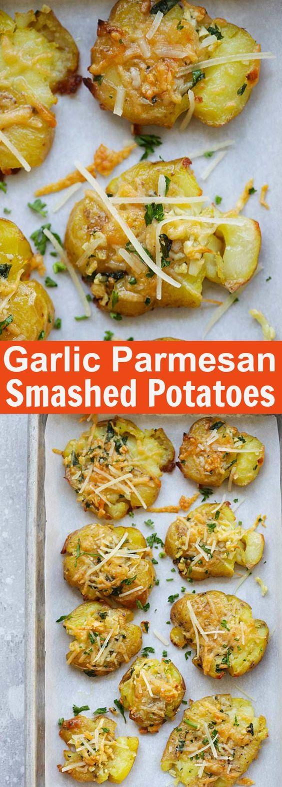 Garlic Parmesan Smashed Potatoes - the best potatoes recipe ever with nicely smashed potatoes loaded with butter, garlic and Parmesan cheese. So good | rasamalaysia.com