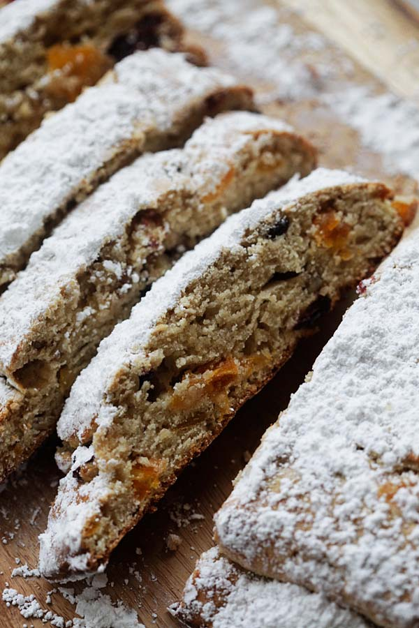 Easy homemade Holiday Bread made with pecan nuts and dried fruits, covered in powdered sugar.