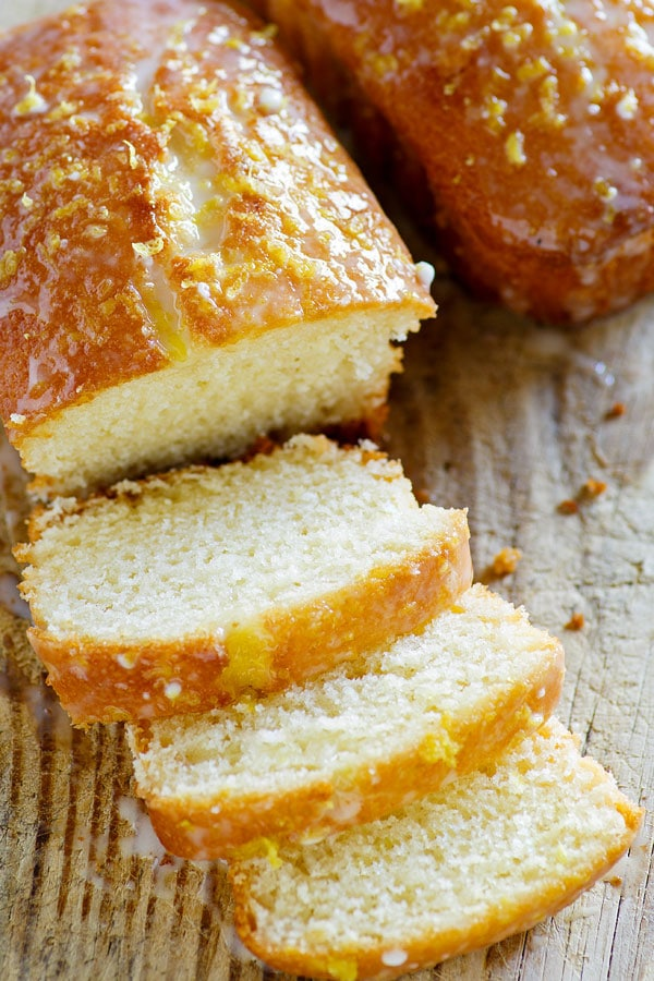 Slices of Glazed Lemon Pound Cake Loaf, ready to serve.