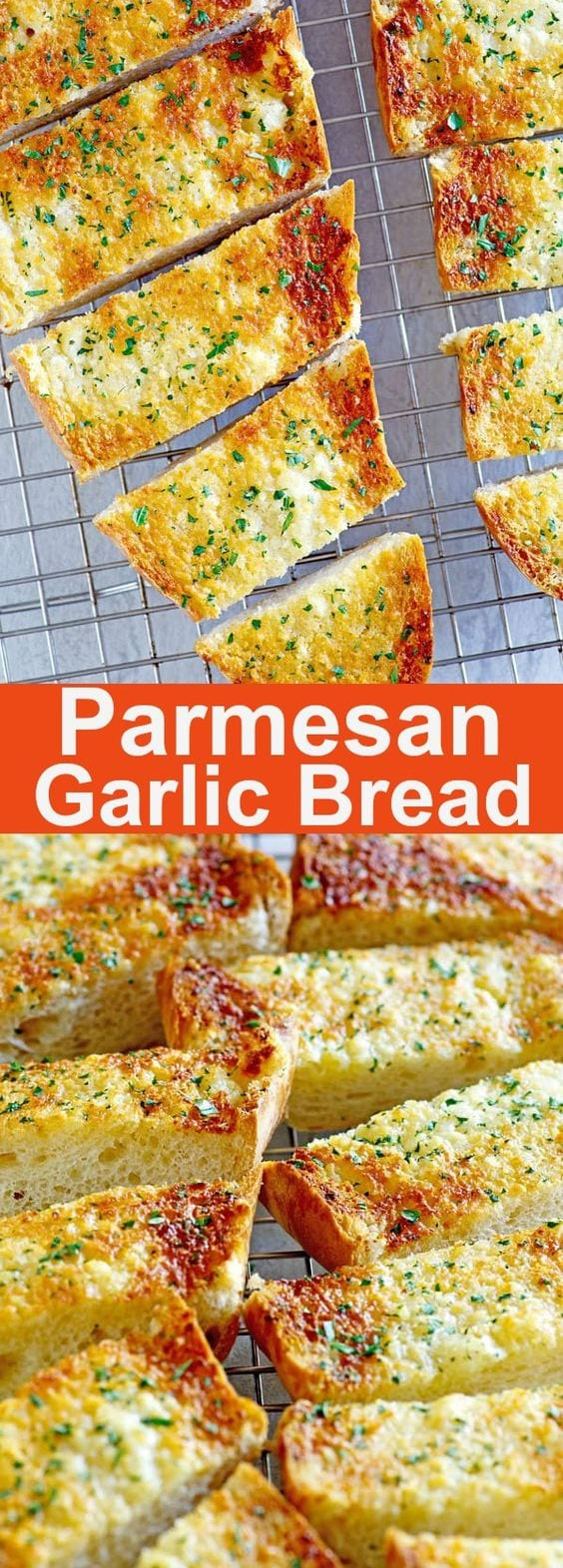 Parmesan Garlic Bread - Turn regular French bread into delicious, buttery parmesan garlic bread with this quick and easy recipe. | rasamalaysia.com