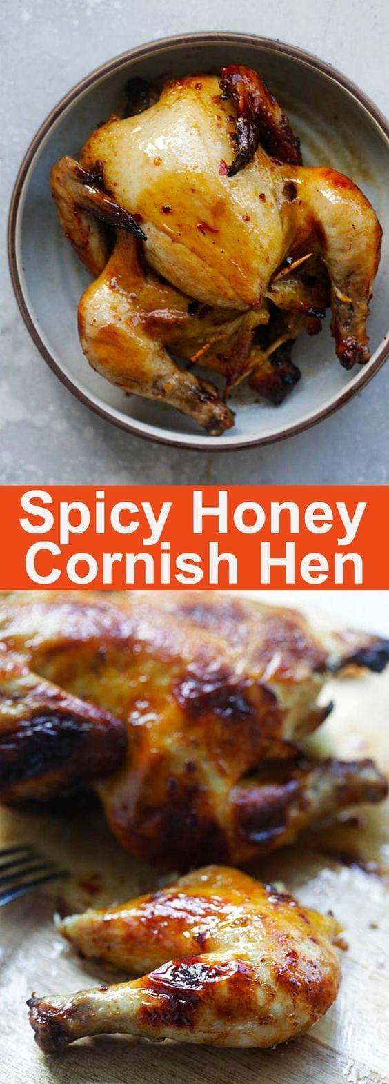 Spicy Honey Roasted Cornish Hen - tender, juicy and perfectly roasted Cornish Hen with honey and spices. So good you'll eat the whole bird | rasamalaysia.com