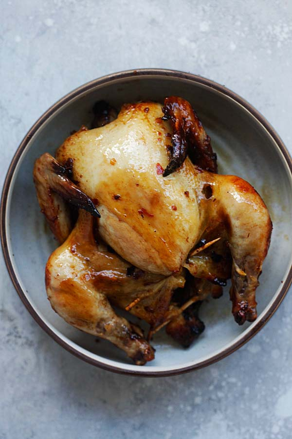 Spicy Honey Roasted Cornish Hen - tender, juicy and perfectly roasted Cornish Hen with honey and spices. So good you'll eat the whole bird | rasamalaysia.com