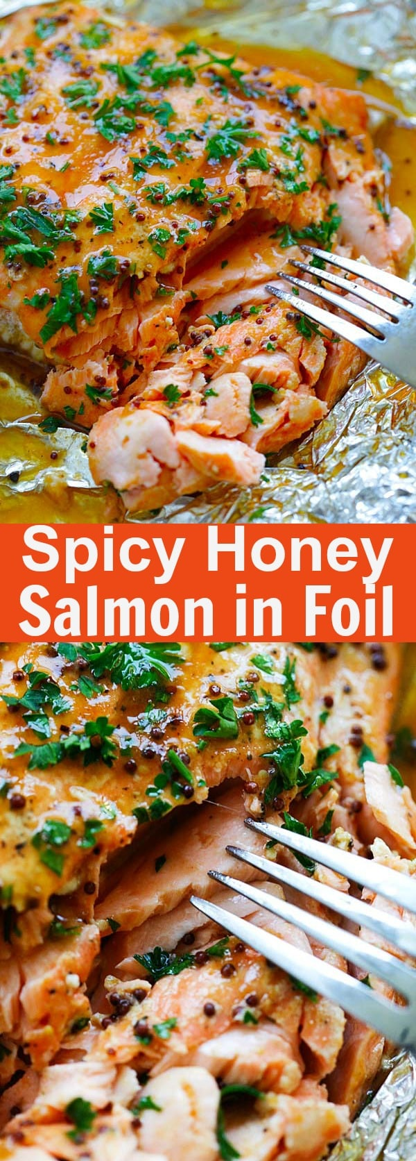 Spicy Honey Salmon - Foil baked salmon with honey, dijon mustard and Asian chili-garlic sauce. Moist, juicy and delicious recipe for busy weeknights | rasamalaysia.com