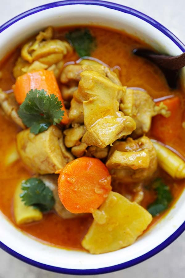 Easy and quick Asian Chicken Curry served in a bowl.