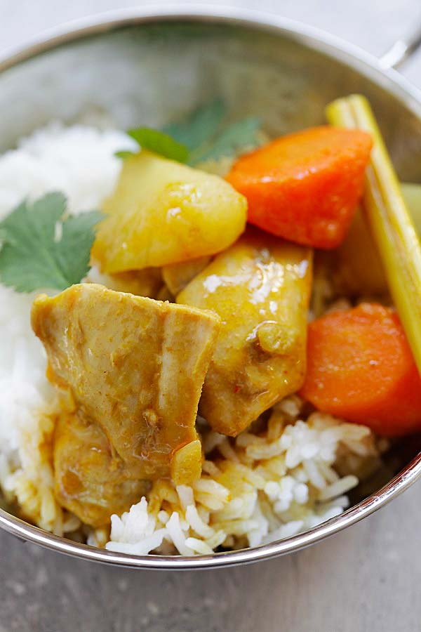 Vietnamese Chicken Curry served with steamed rice.