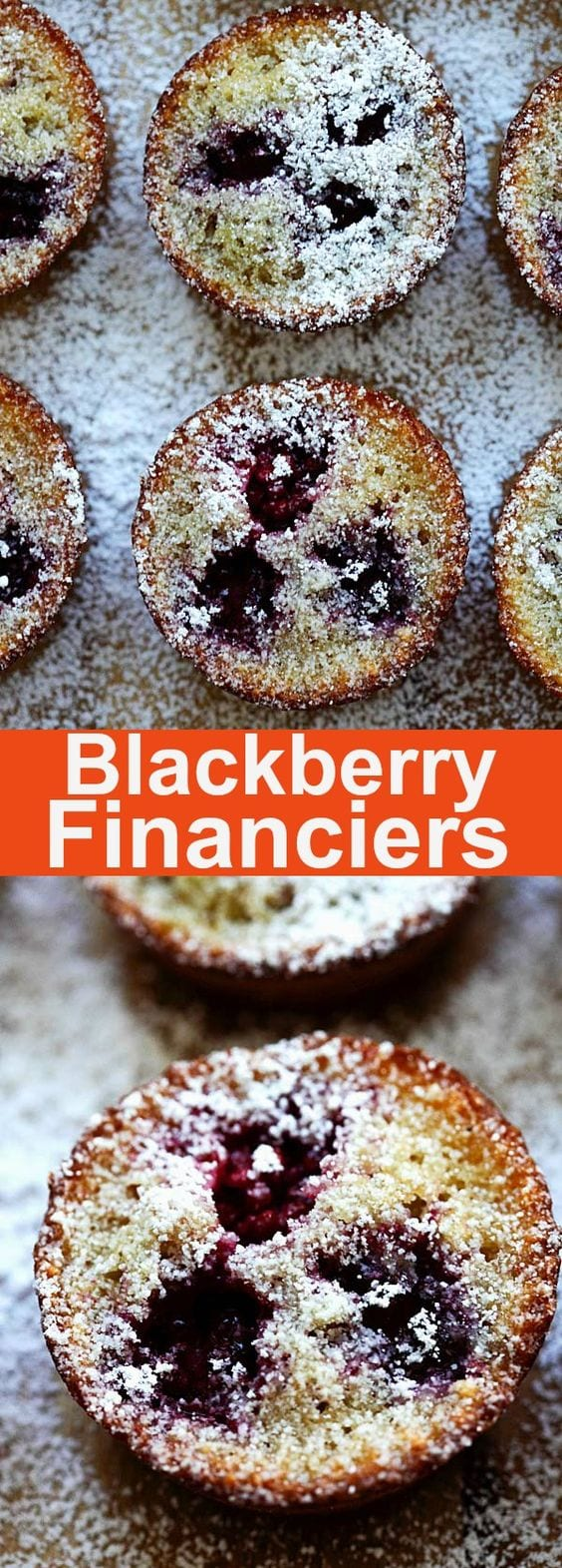 Blackberry Financiers - buttery, moist and rich French cake with blackberries. Homemade financiers are great with tea or coffee. So good | rasamalaysia.com
