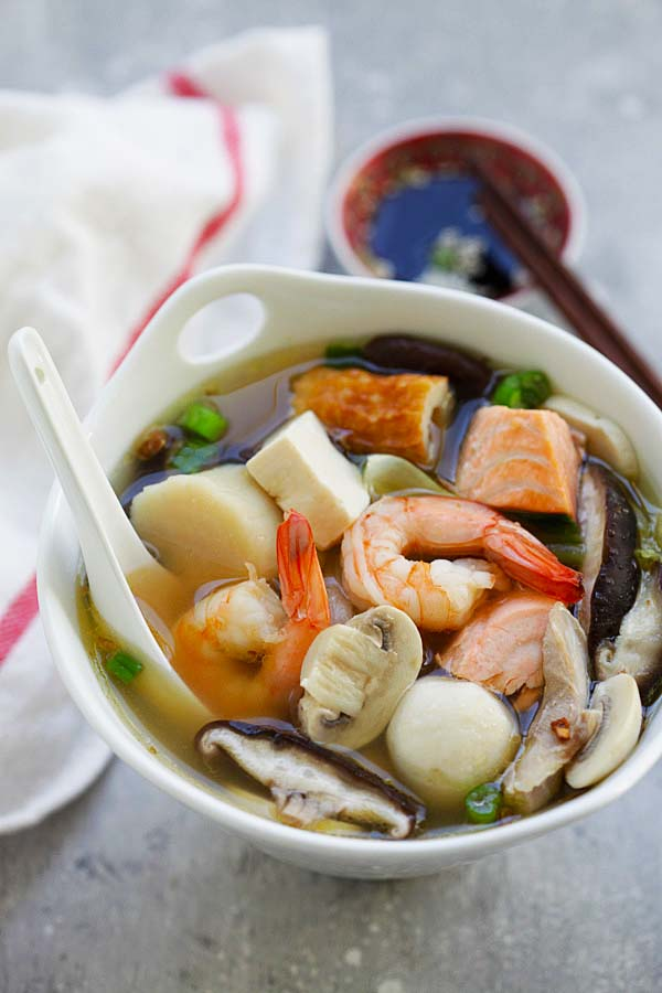 Chinese Hot Pot - hearty soup with a variety of fresh ingredients in a simmering pot of soup stock. Hot Pot is so good especially during winter months