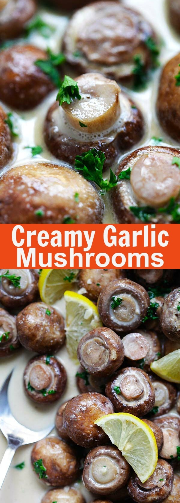 Creamy Garlic Mushrooms - quick and easy mushrooms with rich and creamy garlic sauce. This can be a side dish or a main entree with pasta | rasamalaysia.com