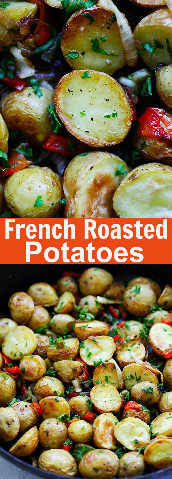 French Roasted Potatoes - easy recipe with baby potatoes, onion and bell peppers. This French-style roasted potatoes is delicious and a perfect side dish | rasamalaysia.com