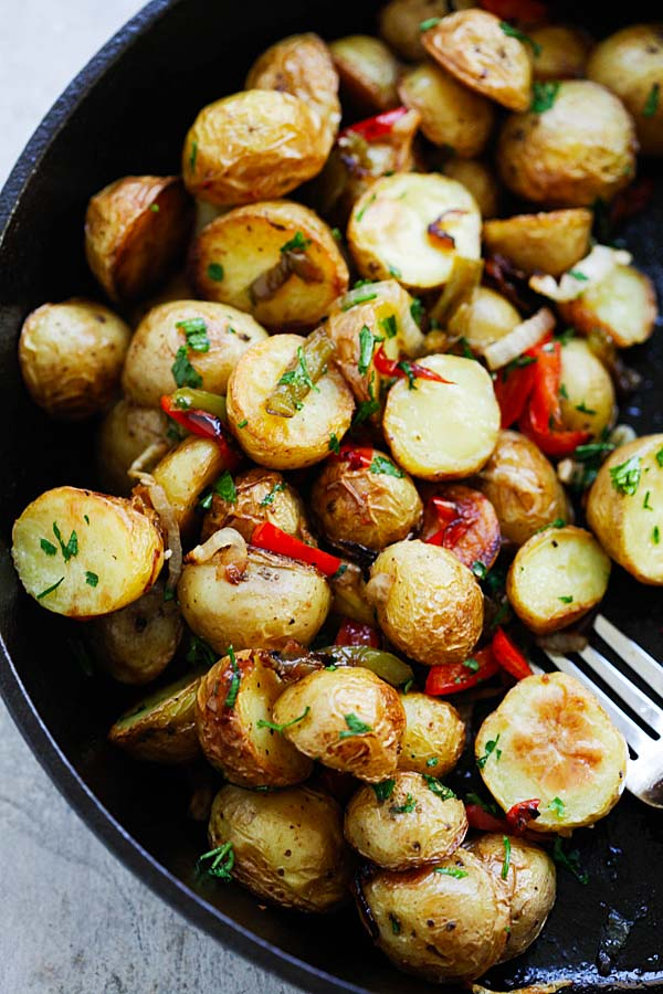 Easy oven roasted French-style baby potatoes recipe.