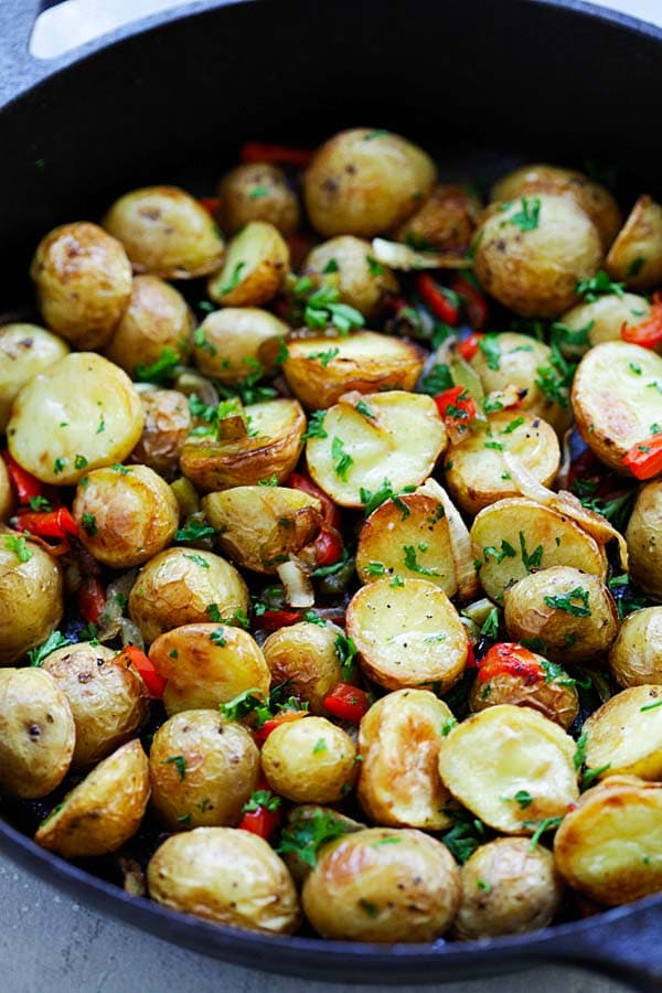 French Roasted Potatoes with baby potatoes, onion and bell peppers.