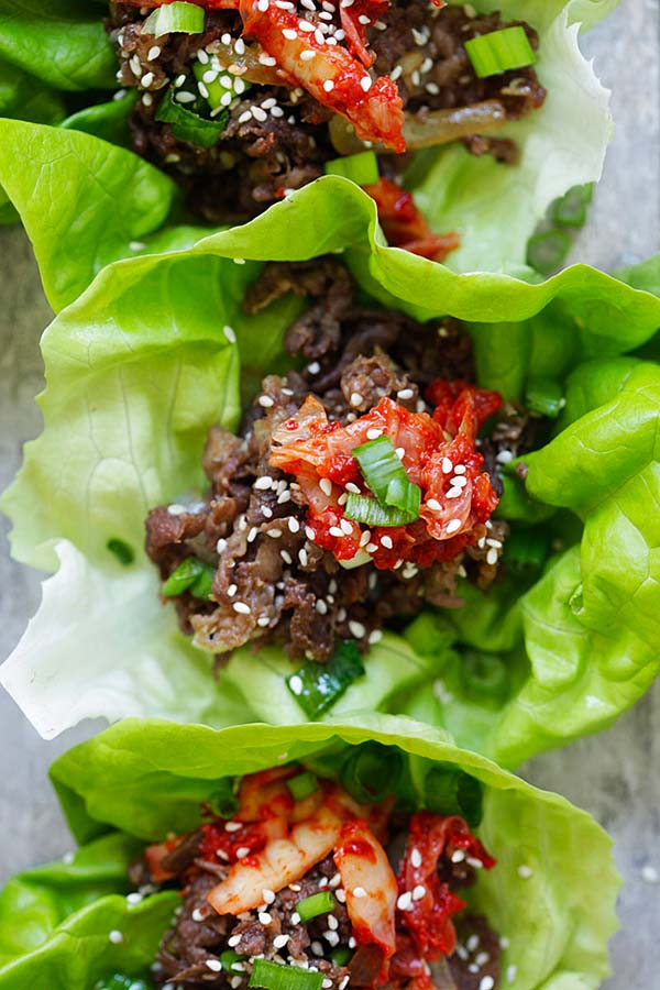 Beef Bulgogi wrapped with fresh lettuce leaves.