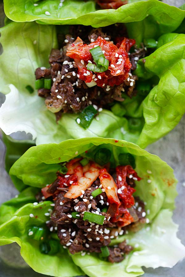 Easy and delicious beef bulgogi wraps with lettuce leaves.