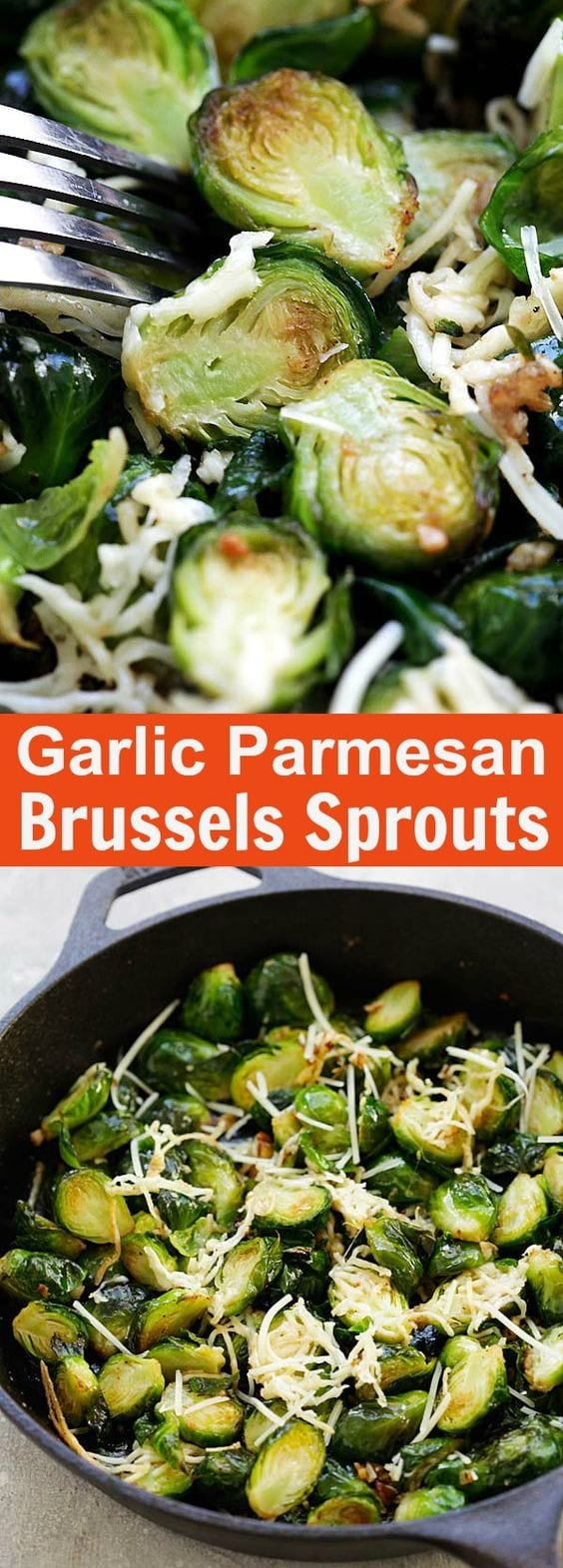 Roasted brussels sprouts with garlic and Parmesan cheese. This oven-roasted side dish is full of flavors, healthy, packed with nutrition and takes only 10 minutes active time | rasamalaysia.com