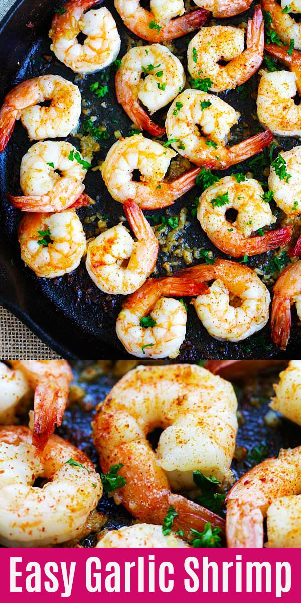 Easy garlic shrimp with frozen shrimp, garlic butter, lemon juice and cayenne pepper. One of the best shrimp recipes that takes only 10 minutes to make | rasamalaysia.com