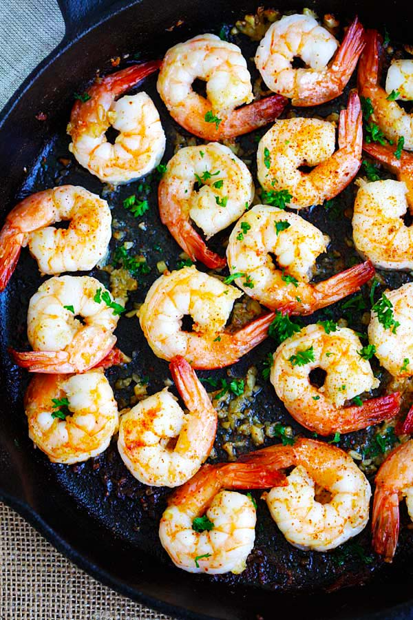 Garlic shrimp with butter, lemon juice and cayenne pepper is one of the best shrimp recipes.