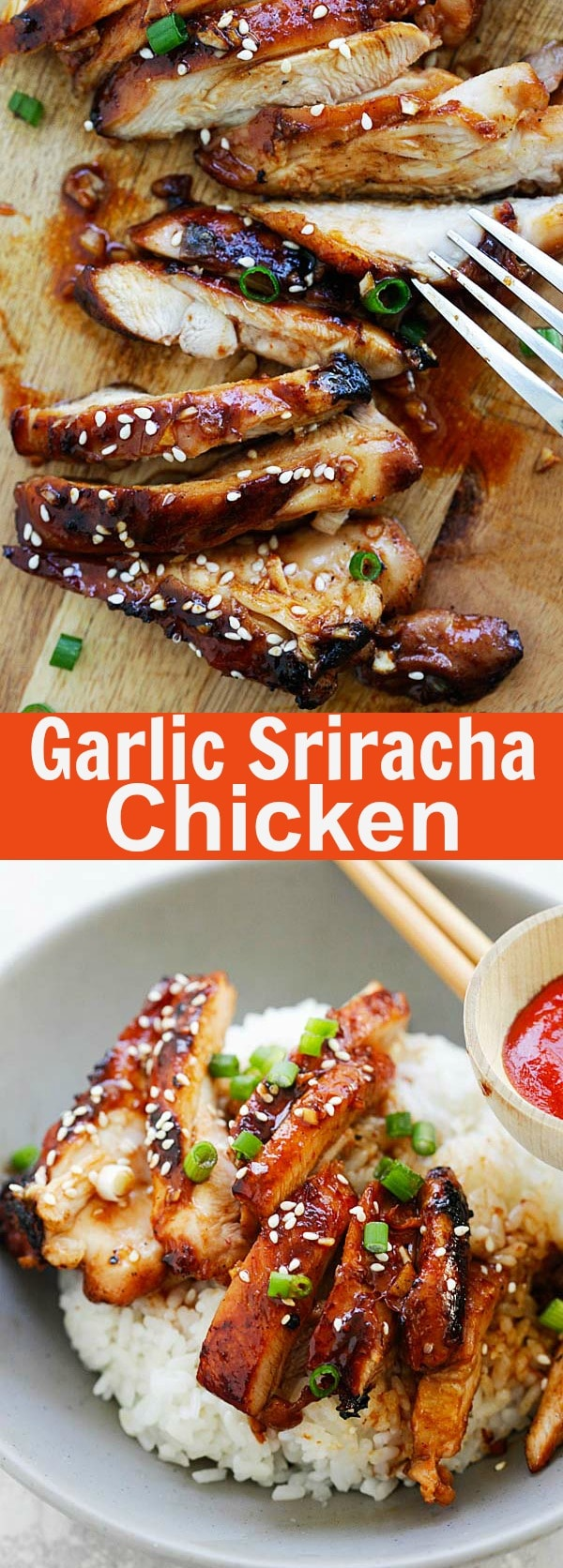 Garlic Sriracha Chicken - the juiciest oven baked chicken recipe with a mouthwatering Garlic Sriracha marinade. So delicious | rasamalaysia.com