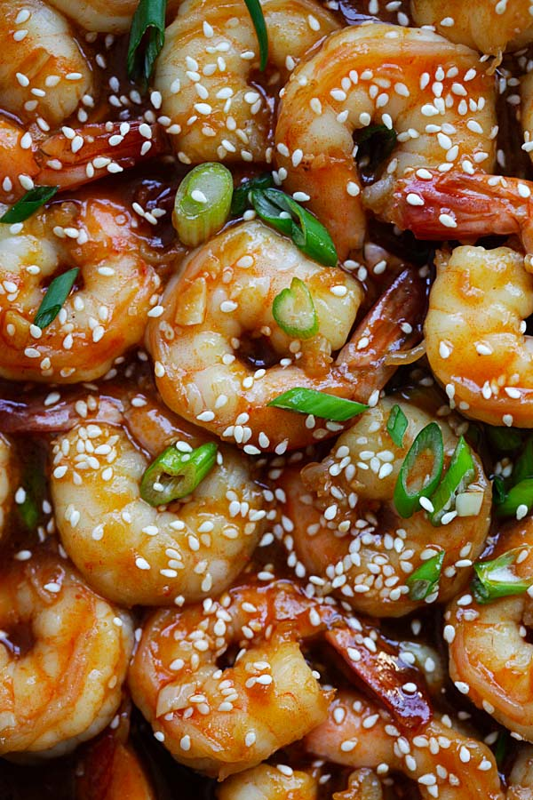 Top down view of Asian sweet and sour shrimps.