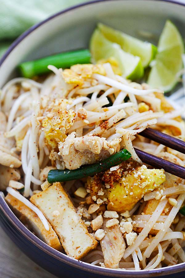 How to make Bangkok-style stir-fry Thai rice noodles with chicken.