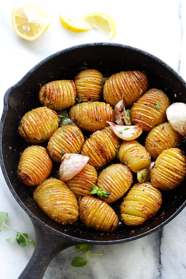 Hasselback Potatoes recipe with garlic and butter.