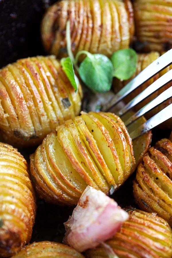 Hasselback baked potatoes.