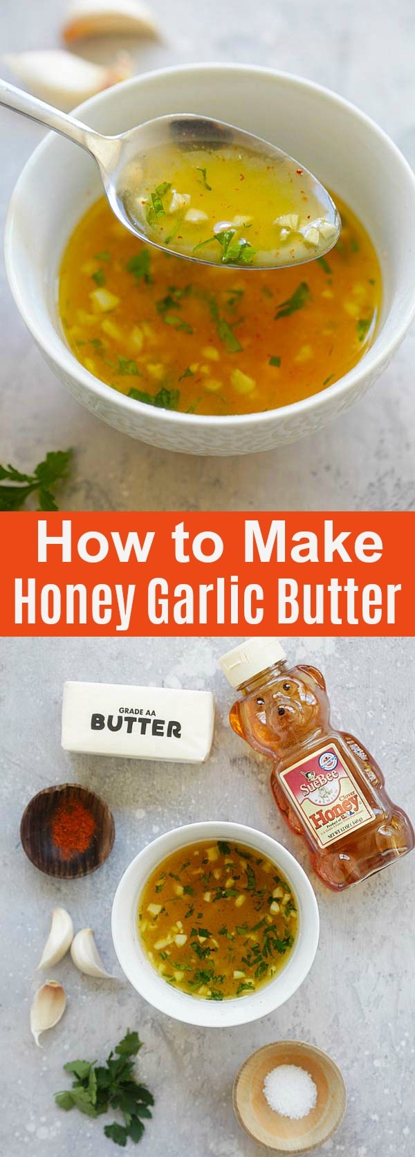 Honey Garlic Butter - the most amazing 5-ingredient sauce recipe you'll ever make. So easy and you can use it on anything. Weeknight dinner is a breeze with this magic sauce | rasamalaysia.com